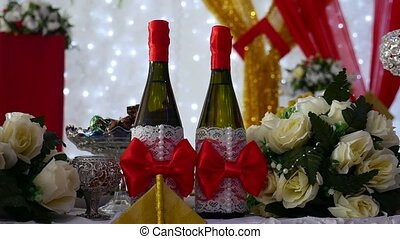 row of chairs in restaurant champagne video laid table with food celebration wedding art