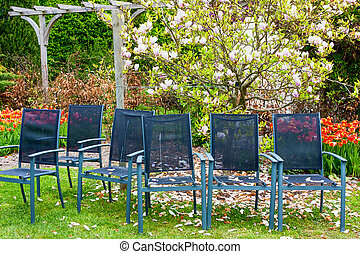 Row of chairs in the spring garden