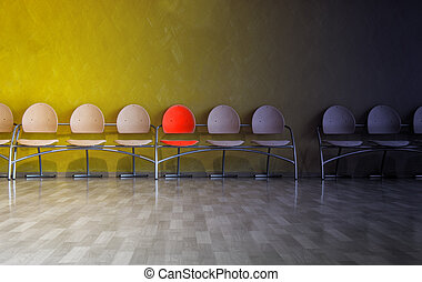Row of chairs in waiting room, with one highlighted chair waiting for someone to sit on it