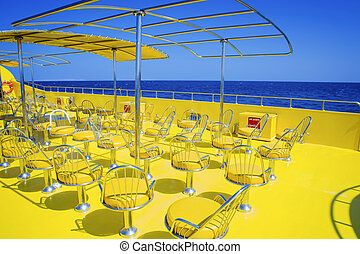 Row of chairs on the boat