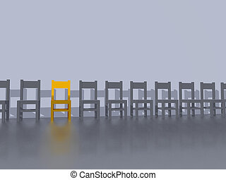 row of chairs, one in yellow - 3d illustration