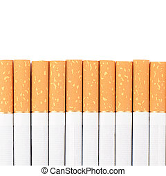 row of cigarettes on white background - The row of...