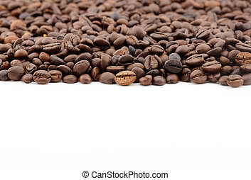 row of coffee beans isolated on white background