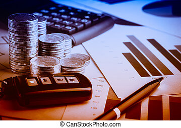 Row of coins,car remote and pen on account book in car finance and banking concept