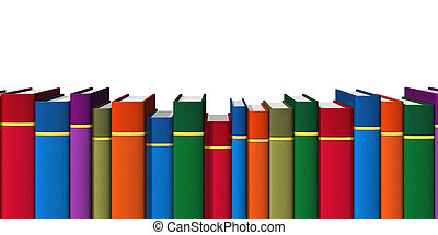 Row of color books on bookshelf isolated on white background
