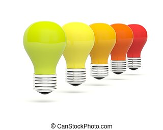 Row of color bulbs isolated on white