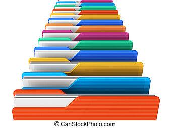 Row of color folders