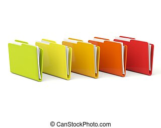 Row of color folders isolated on white