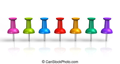 Row of color pushpins