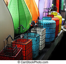 Asian lanterns - Row of colorful Asian lanterns with wire...