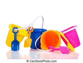 Row of colorful beach buckets or pails - a row of colorful...