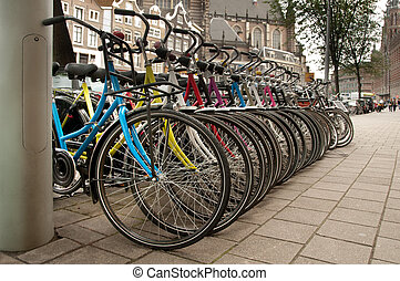 Row of colorful bicycles, Amsterdam