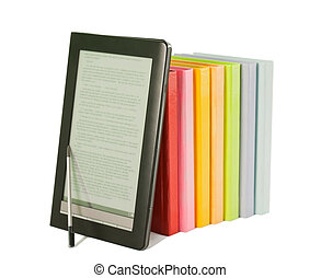 Row of colorful books and electronic book reader on the white background