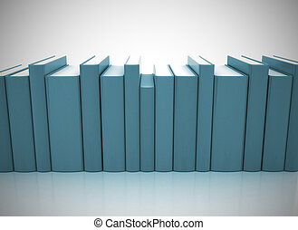 Row of colorful books on white background