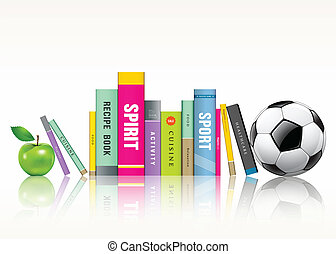 Row of colorful books, soccer ball and green apple, vector...