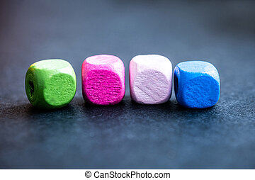 Row of colorful cube beads