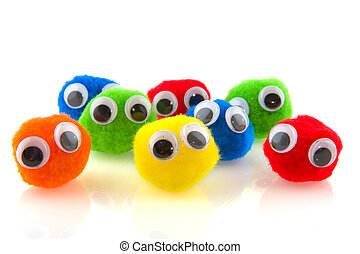 Row of colorful curious people with big eyes