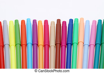 row of colorful felt pens