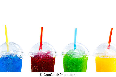 Row of Colorful Slush Drinks in Plastic Cups