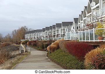Row of condominiums.