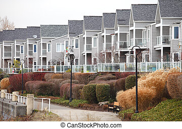 Row of condominums Vancouver WA.