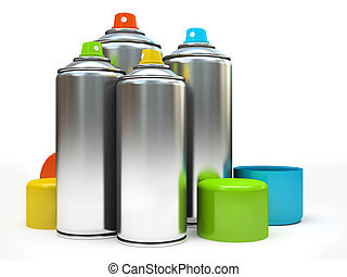 Row of containers with multicolored paint on white background