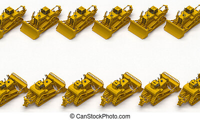 row of crawler bulldozers above view