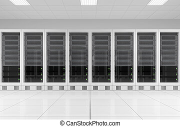 row of data racks in server room