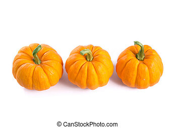 Row of decorative orange pumpkins