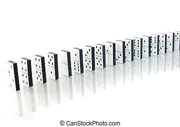 Row of dominoes standing aslant