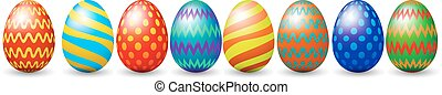 Row of easter eggs isolated on white