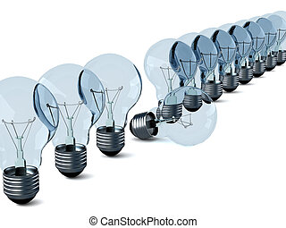 Row of electric bulbs on a white background. 3D image