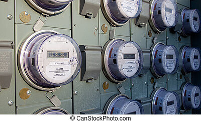 A row of electric or gas meters