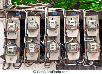 Electric Meters - Row of Electric Meters in thailand