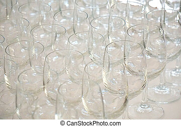 row of empty glasses