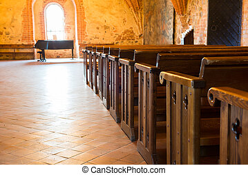 Row of empty seats in church