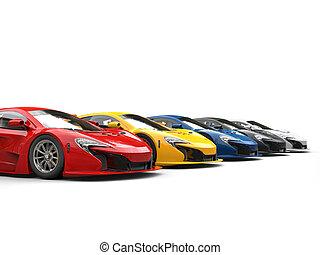 Row of extreme sportscars