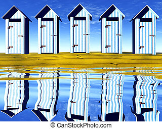 Row of five beach huts reflected in the water