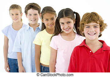 Row of five young friends smiling