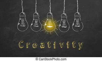 Creativity - Row of flickering tungsten light bulbs drawn in...