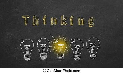 Thinking concept - Row of flickering tungsten light bulbs ...