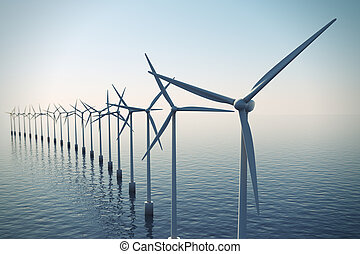 Row of floating wind turbines during hazy day. - Alternative...