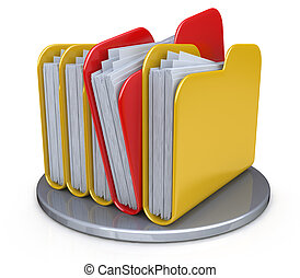 Row of folders and files