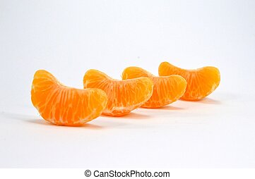 Row of four parts of tangerine