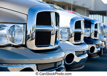 Row of front ends of trucks - Image of the front ends of a...