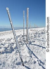Row of frozen pilars, vertical orientation