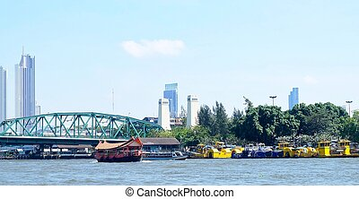 Row of Garbage Boat on Chao Phraya River Thailand