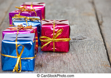 Row of glossy gifts