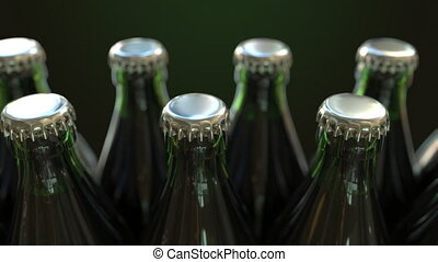 Row of green bottles, loopable animation