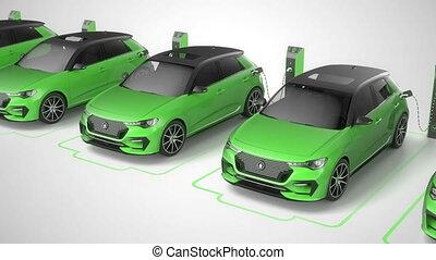 Row of green modern electric self driving cars charging. Seamless loop. 4K